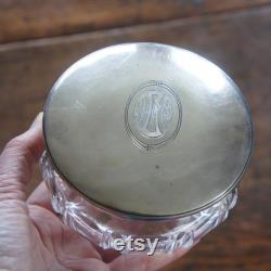 Art Deco c1930 Cut Crystal La Pierre Sterling Lid Dresser Jar AMG or AGM monogram
