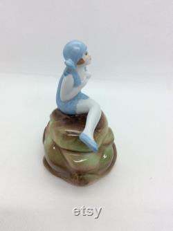 Art Deco lady Powder Bowl Trinket Pot