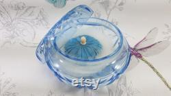 Art Deco powder bowl and puff, blue cut glass powder bowl and duck down powder puff