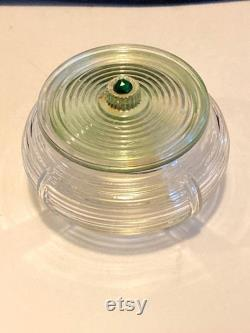 Art Deco round glass powder box with pale green glass lid