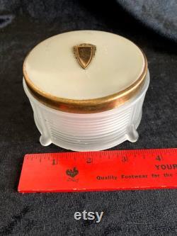 Art Deco satin glass powder box with enamel and brass lid