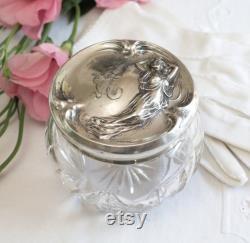 Art Nouveau Sterling Silver Repousse Crystal Vanity Jar, Powder Jar, Maiden