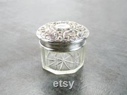 Art Nouveau Vanity Powder Jar, Sterling Silver Floral Repoussé Lid with Cut Glass Bottom, Antique Dominick and Haff witho Mono