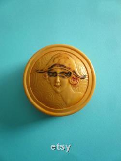 Art deco celluloid powder box