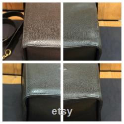 Authentic CHANEL Black Caviar Leather Shoulder Vanity Case Handbag