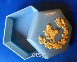 Beautiful Hexagonal Blue Plastic Box with Butterfly and Flowers motifs