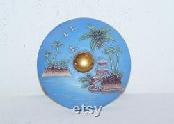 Blue Satsuma Covered Powder Jar, Trinket Box, Raised Palm Trees, Water and Seagulls Scene, Hand Painted