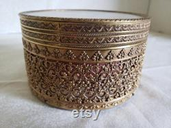 Brass Filigree Powder Box with Painted Silk Mirror Cover, Glass Powder Bowl, and Puff with Satin Ribbon