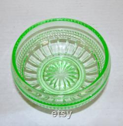 Cambridge Elegant Glass Emerald Green Wetherford Vanity Powder Puff Box Dresser Jar 1940s Vintage Bedroom Decor