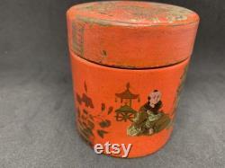 Chinoiserie, japanese lacquer box, paper mache box, Powder puff box