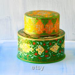 Coty Emeraude Perfume Powder Containers, Chinoiserie, Persian Floral Design, Vanity Decor