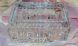Cut Crystal Box, 24 Lead Crystal, Crystal Powder Box, Vintage Vanity, Trinket Box, Etched Jewelry Box, Dresser Box, FREE SHIPPING