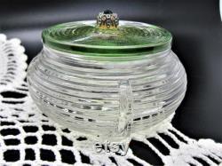 Depression Era Glass Vanity Jar or Powder Jar with Lid