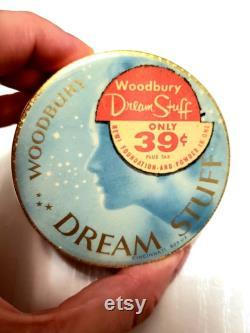 Dream Stuff WOODBURY Face Powder Box Dreamy Blue Art Deco Celestial Stars Powder Box 40s Beauty Vanity Cosmetics Makeup Collector Gift RARE