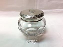 Elegant Cut Crystal Vanity Jar with Sterling Silver Lid inscribed R , C. 1909 J. Wagner and Son, New York, N.Y, USA