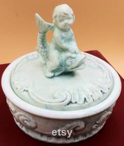 Enesco Cherub Riding Dolphin dresser powder trinket jewelry box with lid. Light blue white marbled porcelain. Vintage 60's. E4066. Japan