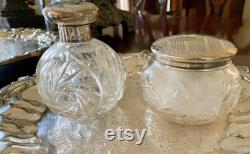 English Sterling Silver Cut Glass Perfume Bottle, Powder Jar, Art Deco 1928 29, Monogram M, Each Sold Separately