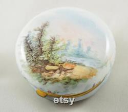 Exquisite Antique Limoges Enamelled Circular Powder Box, Ladies in a Garden, Base with Landscape, Gilt Brass, Mirrored Lid, France 1910s