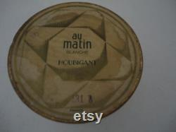 Extremely Rare Vintage Face Powder by Houbigant Au Matin Blanche 1930's Fully Sealed Container Art Deco Geometric Design Gold and Green