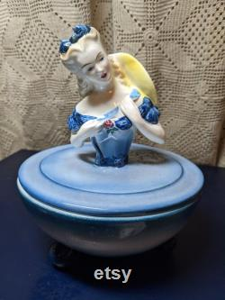 FREE SHIPPING- Vintage Goldscheider Pottery Porcelain 825A Powder Box with Ball Feet. Lady with Yellow Hat. See Item Description