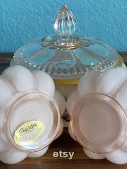 Fenton Charleton Hand Painted Melon Puff Glass Vanity Set, Pink with Roses, 3 Pieces, Lidded Powder Box and Two Perfume Bottles Vases, Vintage