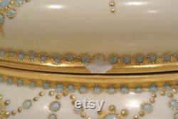 French Limoges Large Hand Painted Gold Gilt 7-1 2 Powder Box Gorgeous Vanity Decor Vintage Compact White With Gold Design