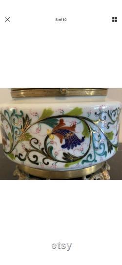 French Opaline Art Glass Ormolu Hand Painted Footed Bronze Dresser Vanity Box