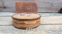 French Religious Antique Cardboard and glass Powder Box s106