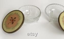 Glass Vanity Set Jars Canister Matching Set of 2 Glass Footed Base with Metal Lid Floral Bakelite Appliqué Cosmetic Storage