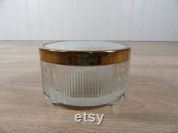 Glass dresser jar with metal decorative lid- beautiful- vintage-FREE SHIPPING