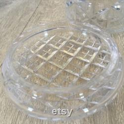 Glass trinket or powder pot , dressing table decor, clear cut glass container