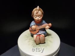 Goebel Hummel Little Girl Playing Mandolin Bisque Powder Box