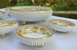 Gold Embossed Nippon Morimura Footed Nut Bowl with 4 Smaller Serving Bowls Set