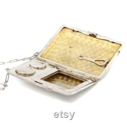 Handmade Sterling Silver Powder Case, Estate Vintage Silver Powder Box with Chain-Link Handle, Antique Powder Compact, Powder Chatelaine