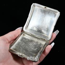 Handmade Sterling Silver Powder Case, Floral Engraved Powder Silver Box, Vintage Bridal Gift Powder Compact, Antique Powder Chatelaine