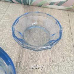 Ice blue glass trinket pot forties dressing table decor, blue glass powder pot