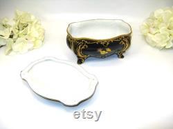 J L Menau, Echt Kobalt, Graf Von Henneberg Porzellan, Footed Powder Box, German Porcelain, Cobalt Gilt Dresser Jar, Unique Gift