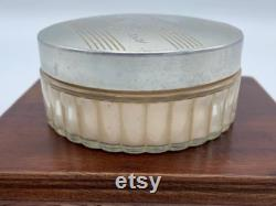 John Robert Powers Vintage Dresser Jar with Powder and Silverplate Lid Antique Dresser Jar John Robert Powers Cosmetics Powder Jar