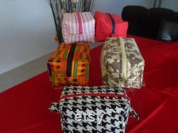 Kente, Large Makeup Travel Bag, Cosmetic Bag, Red, Bag, Makeup Bag, Box Bag, Vanity Bag, Make Up Organizer, Toiletry Bag, Travel Case, Bag