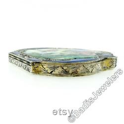 Large Antique Detailed Enamel Hand Painting Engraved .800 Silver Makeup or Powder Box