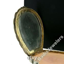 Large Antique Detailed Enamel Painting Engraved Silver Makeup or Powder Shell Shape Box