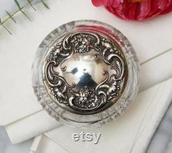 Large Victorian Sterling Silver Repousse Lid Crystal Dresser Vanity Box, Powder Jar