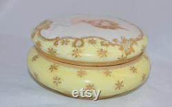 Limoges Portrait Dresser Box Jewelry Casket Vanity Jar Signed
