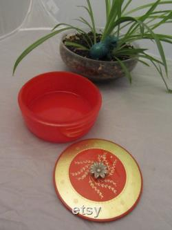 Lovely Coral Colored Covered Avon Powder Box