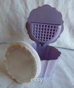 Lovely Lavender Powder Box Tanyana of California Rhinestone Studded Lid Powder Puff Circa 1959