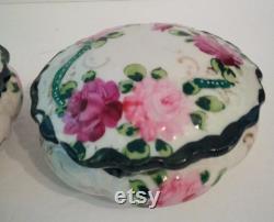 Lovely Vintage Porcelain Powder Jar and Hair Receiver With Roses Vanity Set
