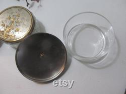 MCM Covered Powder jar Bedroom Vanity Bathroom Vanity Victorian Antique Covered Powder jar Victorian Antique Soap Dishes powder box jar