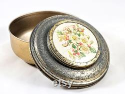 Metal Dresser Powder Box With Litho Dogwood Flowers Made In USA Vintage 30s 40s