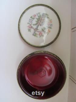 Mid century Regent of London powder jar bowl with embroidered lid. With original glass liner. Cosmetic pot Y137
