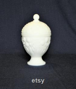 Milk Glass Powder Box with Lid, Perfect Gift Box with a Floral Design, Great for Q-Tips, Cotton Balls or Jewelry, FREE SHIPPING